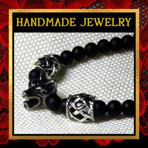 Norse Wolf & Black Agate Bracelet #002